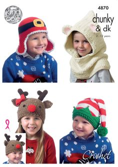 Kids  Christmas Novelty Hats in Various DK 4870 Baby Hat Knitting Pattern ffbe8f78fcef