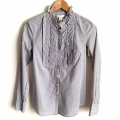 J. Crew Ruffle Collar Shirt Striped button down shirt with a ruffled collar. Ideal for the office! 100% Cotton. J. Crew Tops Button Down Shirts