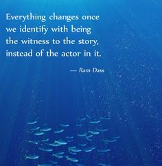 Everything changes once we identify with being the witness to the story, instead... | Ram Dass Picture Quotes | Quoteswave