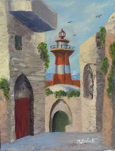 (c) The Light House, Mediterranean port of Jaffa. Oil on Canvas by Marwan Kishek. Lighthouse, Oil On Canvas, Colours, Fine Art, Painting, Bell Rock Lighthouse, Light House, Painting Art, Paintings
