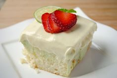 Key Lime Poke Cake - white cake with key lime pie filling inside and vanilla-lime whipped topping