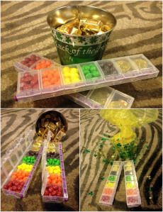 March gift box idea - Hershey's Gold Nuggets and Skittles (rainbow) in pillbox