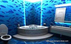 Ideas for bath room themes blue wall art Bathroom Mural, Bathroom Flooring, Small Bathroom, Blue Bathrooms, Dream Bathrooms, Grey Floating Shelves, Grey Laundry Rooms, Ocean Room, Living Room Decor Colors
