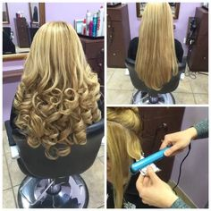 Curling hair using foil & a flat iron for less damage! @salonpure1 #hudabeauty