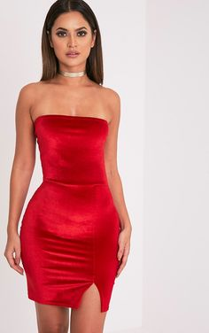 Red Velvet Split Detail Bandeau Bodycon Dress In a contemporary velvet fabric this bodycon mini ...