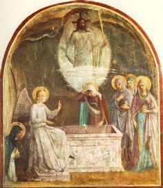 """""""A ressurreição de Cristo e as mulheres na tumba"""" 1440-1, afresco, 189x164 cm Convento de São Marcos, Florença"""