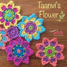 Taanvi's Flower Crochet Motif designed by Carolyn Christma. Taanvi's Flower Crochet Motif designed by Carolyn Christmas Crochet Flower Patterns, Crochet Motif, Crochet Flowers, Crochet Stitches, Knit Crochet, Pattern Flower, Crochet Circles, Crochet Squares, Granny Squares