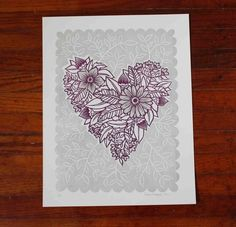 block print wedding invitations   ... smitten with this floral heart block print from onecanoetwo so pretty