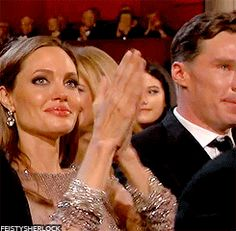 """Now, if they could just shove that thing on the left over so we could actually see him...Benedict's reaction to Lupita Nyong'o's speech Oscars 2014 (via cumberbuddy tumblr)"""