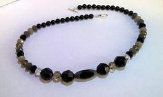 1980s Style Retro Bead Necklace: Handmade with Black White