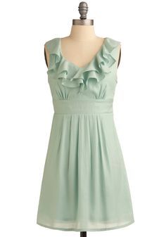 Mint for You Dress - Green, Solid, Ruffles, Wedding, Party, Casual, Empire, Sleeveless, Spring, Summer, Show On Featured Sale, Short