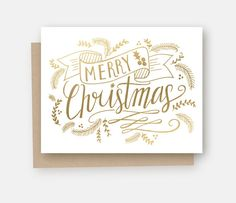 Merry Christmas Card - Gold Foil Christmas Card - Holiday Greeting Card - Christmas Card - Hand Lettering - Illustrated Art