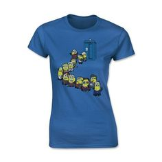 Dr Who Minions in Line Tardis, Women's T-Shirt (20 CAD) ❤ liked on Polyvore featuring tops, t-shirts, blue top, blue t shirt and blue tee