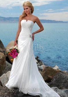 Sheath/Column Strapless Ruffles Chiffon Sweep Train Wedding Dress