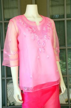Filipiniana Kimona Blouse Top Made to Order S M L XXL XXXL Choose your color #Handmade #Blouse Filipiniana Dress, Tunic Tops, Suits, Chic, Blouse, Womens Fashion, Fashion Ideas, Traditional, Color