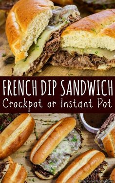 French Dip Sandwich Recipe {Crockpot or Instant Pot} Make this Slow Cooker French Dip Sandwich loaded with rich beef flavor, fresh herbs, and the classic au jus to serve on the side! A perfect roast beef sandwich to add to your weeknight menu. Slow Cooker Roastbeef, Slow Cooker Beef, Slow Cooker Recipes, Cooking Roast Beef, Roast Beef Recipes, Roast Beef Dip, Roast Beef With Au Jus Recipe, Roast Beef Side Dishes, Roast Beef Panini