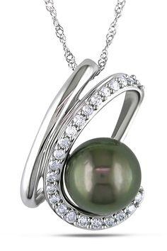 Tahitian Pearl 9-9.5mm Tahitian Pearl & 0.25ct Diamond Pendant In 10k Gold