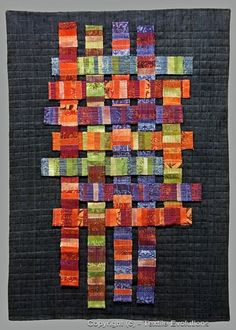 Urban Architecture-  woven strip piecing, vibrant colors