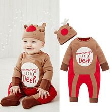 Baby Rompers Infant Baby Boy Girls Deer Xmas Romper Jumpsuit Outfits Baby Clothing Christmas Costume(China (Mainland))