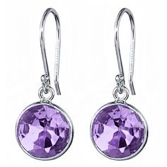 5.00 Ct Natural Purple Amethyst 9mm Round 925 Silver Dangle Earrings