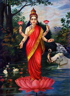There are many Hindu gods and goddesses, including Brahma, Vishnu, and Shiva. Learn about some of the most important deities of the Hindu faith. Indian Goddess, Goddess Lakshmi, Goddess Art, Ravivarma Paintings, Indian Paintings, Raja Ravi Varma, Indian Art Gallery, Indian Artwork, Spiritus