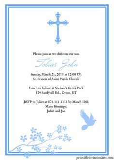 Christening/Baptism Invitation Templates For Baby Boy And Girl ← Printable  Invitation Kits