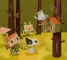 Papercraft dioramas exhibition by Bárbara Perdiguera, via Behance
