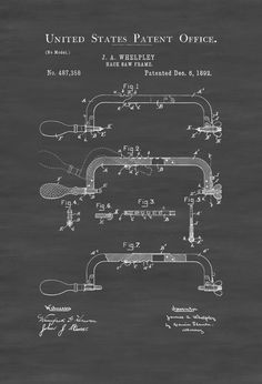 A patent print poster of a Hacksaw invented by J. A. Whelpley. The patent was issued by the United States Patent Office on December 6, 1892. A hacksaw is a fine-toothed saw, originally and principally made for cutting metal, but can also cut other materials, such as plastic and wood. Plumbers and electricians often cut ...