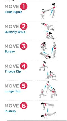 crossfit. 10 reps of each move without resting in between. as many rounds as you can in 15 minutes.