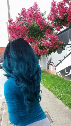 Teal blue dyed hair #atlanta #bluehair