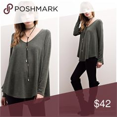 Soft sweater v neck hi lo pleated back tunic💕 Rounded - curved hi lo hemline in a thick sweater material in olive Tops Tunics