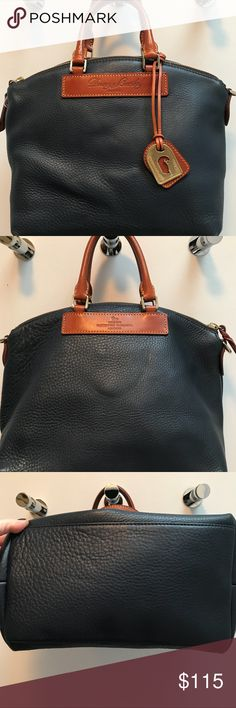 """Dooney & Bourke Pebble Leather Satchel In almost brand new condition. The handles have some marks and one spot on the inside. The bottom corners are faded a tiny bit not enough to take a pic of when I only get 8 but ask and I will take more. I am not familiar with this brand but I think it might be a dillen??? 15"""" across  10"""" in length zipper at the top    Let me know what questions you have Dooney & Bourke Bags Satchels"""