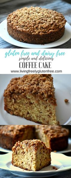 gluten and dairy free coffee cake is moist and delicious. It is the best gluten free coffee cake and no one will know that its gluten or dairy free. You will love this for a gluten free pot luck, brunch, or just to enjoy with your morning coffee or tea. Gluten Free Coffee Cake, Gluten Free Cupcakes, Gluten Free Sweets, Gluten Free Baking, Dairy Free Recipes, Gf Recipes, Dairy Free Deserts, Cake Recipes, Brunch Recipes