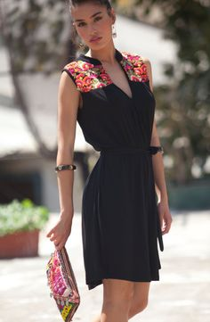 Tribal Dress ,Black ethnic dress, Embroidery Dress , kaftan inspired dress, Black Lycra dress, Boho Chic dress