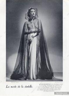Madeleine Vionnet 1937 Evening Gown, Lace Cape, Joffé