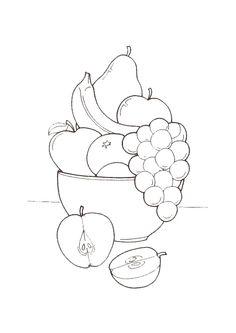 A colorier, des fruits dans un bol sur une table