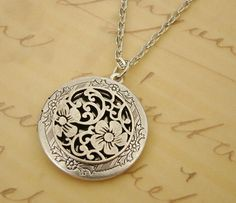 Silver Wedding Locket Bride Christmas Gift Necklace Mother Sister Wife Anniversary Birthday Daughter Round Medallion Photo Picture - Aliza by BackstreetCreations on Etsy (null)