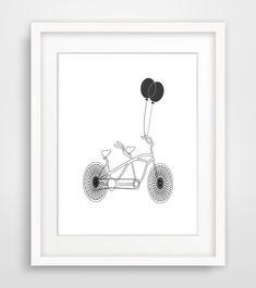 Bicycle Printable Art Minimalist Print Black and White Wall Art Scandinavian Print Romantic Wedding Anniversary Gift on Etsy, £3.10
