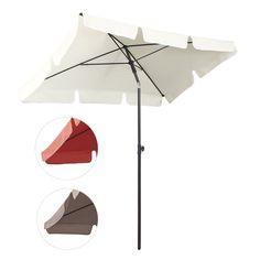 Sekey® 200 × 125 Cm Sonnenschirm Marktschirm Gartenschirm Terrassenschirm  Sonnenschutz UV 50+ Terracotta Quadratisch