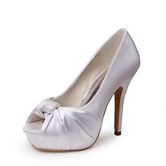 Tasteful Satin Peep Toe Platform High Heel Pumps with Ruffles and Bowknot Wedding Shoes – USD $ 79.99