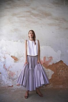 Poplin Wide Skirt