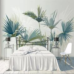 Palm Tree Pattern Removable Wallpaper Self Adhesive Wallpaper Extra Large Peel & Stick Wallp Palm Wallpaper, Custom Wallpaper, Peel And Stick Wallpaper, Photo Wallpaper, Open Wall, Smooth Walls, Cleaning Walls, Traditional Wallpaper, Self Adhesive Wallpaper