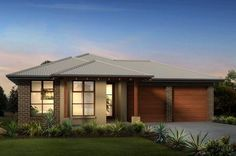 fachadas de casas pequeñas modernas de una planta con garaje doble