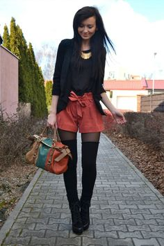 I love this look... Not sure if I can pull off the thigh high socks though!!!