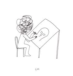 This is pretty much how I feel when I need to make art. Drawing by Geoff McFetridge