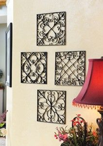 Faux wrought iron wall art. made with recycled paper towel tubes & Spray paint an inexpensive door mat as wall art | Faux decorating ...