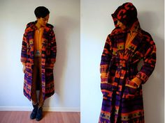 Vtg Tribal Print Purple Orange Belted Wool Hooded by LuluTresors, $44.99