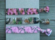 Pink Green and Brown Hunting Camo Elastic Hair Ties Mossy Oak Realtree by Ink and Roses 13
