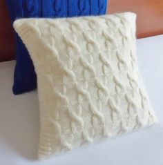 Cozy soft ivory knit pillow cover hand knit by Adorablewares, $35.00