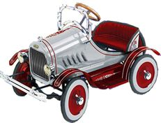 Model T pedal car range, in classic blue, pink, silver and delux pedal fire engine: